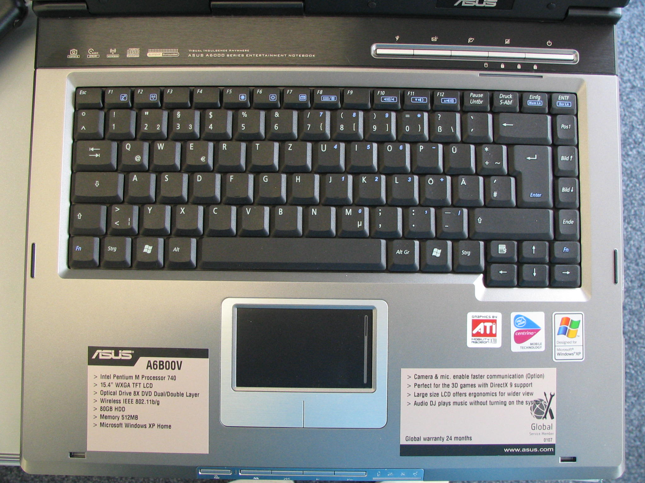 Difference Between Notebook And Laptop >> Keyboard Asus A6B00V