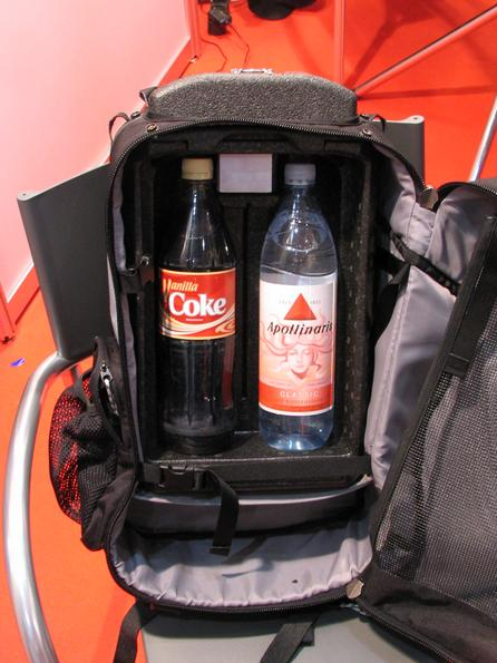 Refrigerator in backpack Below the peltier element is a refrigerator built into the backpack. 2 piece 1 litre bottles have place in the backpack. This gadget will be available end of 2006.