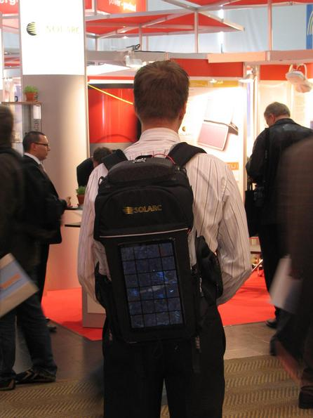 Backpack with photovoltaic Immediately stands out the crystalline silicon photovoltaic on the backpack. But out of what reason needs a backpack 5 Watt peak photovoltaic?