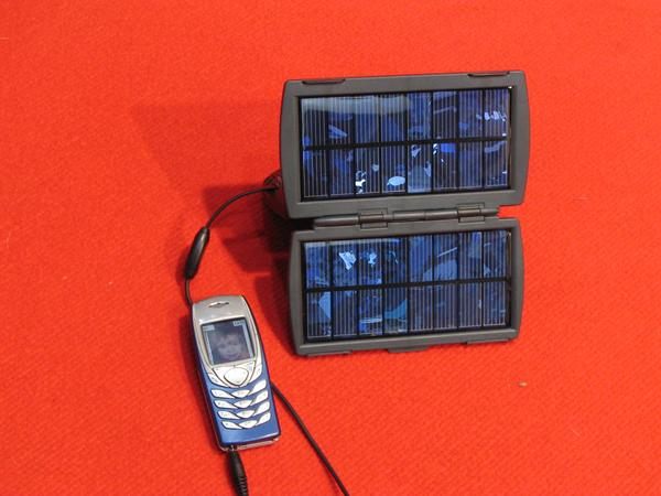 Solar charger Charge AA batteries by 2.4 Watt peak photovoltaic or with the 230V power supply. One charge adapter for cellphones is included. A 12V plug to connect in a car is.available as accessory.