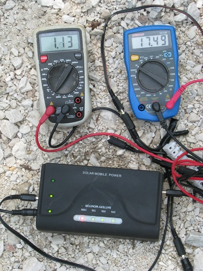 Battery full shows MPPT procedure There had been just 13.86 V and 2.27 A. Suddenly, the display changes to 17.49 V and 1.13 A gives 19,67 Watt. This change is the proof for the MPPT procedure.