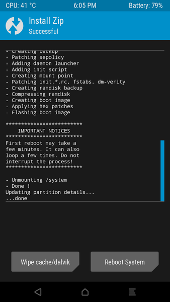 Install TWRP on Doogee X5 MAX pro Android 6 SP Flash Tool overwrites the recovery partition from the internal memory. If after the boot in the ''recovery'' appears TWRP, then SuperSU can finally be installed. Picture 4